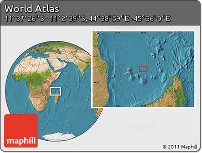 "Satellite Location Map of the Area around 11°20'3""S,45°7'30""E"