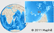 """Shaded Relief Location Map of the area around 11°20'3""""S,46°49'30""""E"""