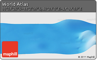"""Shaded Relief Panoramic Map of the Area around 11°20'3""""S,46°49'30""""E"""