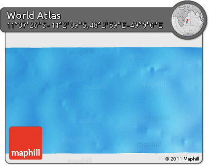 """Shaded Relief 3D Map of the Area around 11°20'3""""S,48°31'29""""E"""