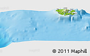 """Physical Panoramic Map of the area around 11°51'9""""S,166°40'30""""E"""