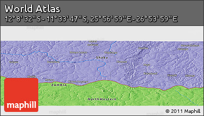 """Political Panoramic Map of the Area around 11°51'9""""S,26°25'29""""E"""
