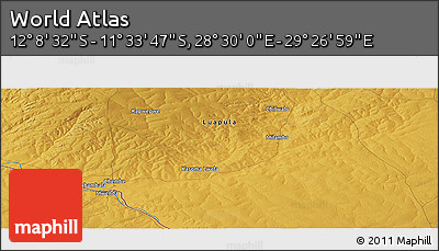 """Physical Panoramic Map of the Area around 11°51'9""""S,28°58'30""""E"""