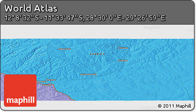 """Political Panoramic Map of the Area around 11°51'9""""S,28°58'30""""E"""