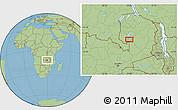 "Savanna Style Location Map of the area around 11°51'9""S,29°49'30""E"