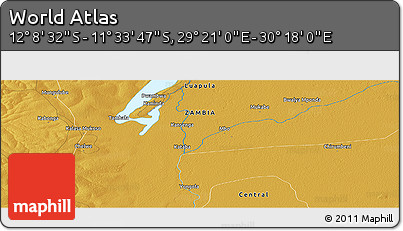 """Physical Panoramic Map of the Area around 11°51'9""""S,29°49'30""""E"""