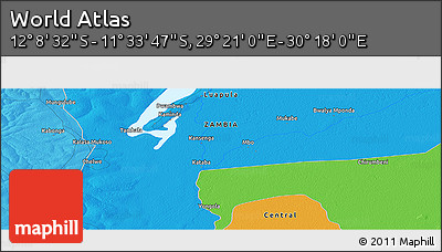 """Political Panoramic Map of the Area around 11°51'9""""S,29°49'30""""E"""