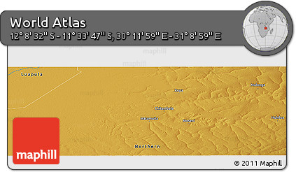 """Physical Panoramic Map of the Area around 11°51'9""""S,30°40'29""""E"""
