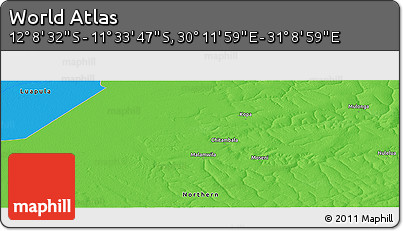 """Political Panoramic Map of the Area around 11°51'9""""S,30°40'29""""E"""