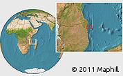 "Satellite Location Map of the area around 11°51'9""S,40°52'30""E"