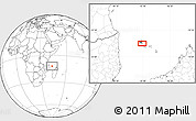 """Blank Location Map of the area around 11°51'9""""S,43°25'29""""E"""