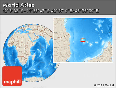 """Shaded Relief Location Map of the Area around 11°51'9""""S,43°25'29""""E"""
