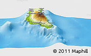 """Physical Panoramic Map of the area around 11°51'9""""S,43°25'29""""E"""