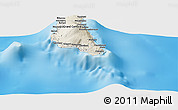 """Shaded Relief Panoramic Map of the area around 11°51'9""""S,43°25'29""""E"""