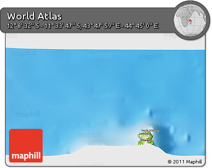 """Physical 3D Map of the Area around 11°51'9""""S,44°16'29""""E"""
