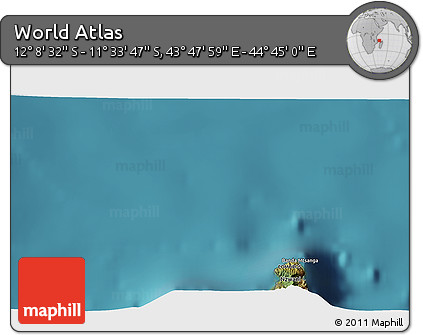 """Satellite 3D Map of the Area around 11°51'9""""S,44°16'29""""E"""