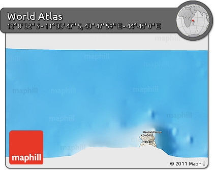 """Shaded Relief 3D Map of the Area around 11°51'9""""S,44°16'29""""E"""