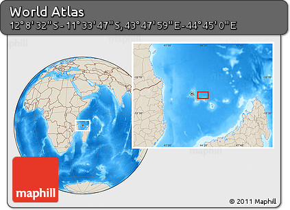 "Shaded Relief Location Map of the Area around 11° 51' 9"" S, 44° 16' 29"" E"