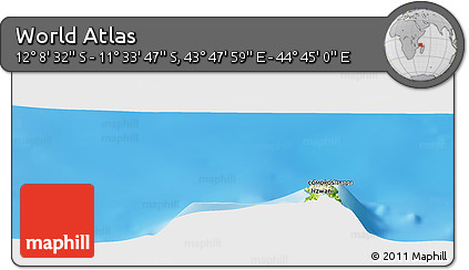 """Physical Panoramic Map of the Area around 11°51'9""""S,44°16'29""""E"""