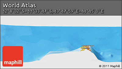 """Political Panoramic Map of the Area around 11°51'9""""S,44°16'29""""E"""