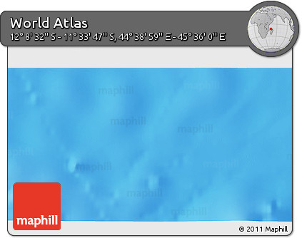 """Shaded Relief 3D Map of the Area around 11°51'9""""S,45°7'30""""E"""