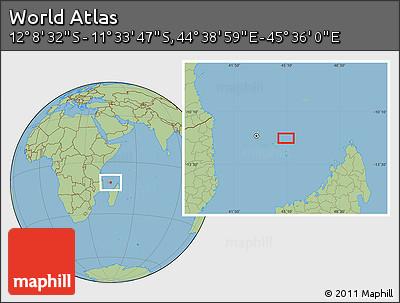 "Savanna Style Location Map of the Area around 11°51'9""S,45°7'30""E"