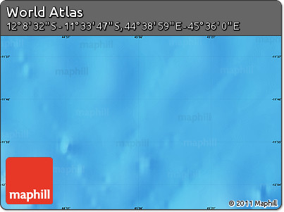 """Shaded Relief Map of the Area around 11°51'9""""S,45°7'30""""E"""