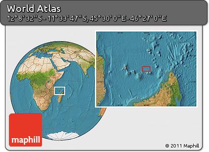 "Satellite Location Map of the Area around 11°51'9""S,45°58'30""E"