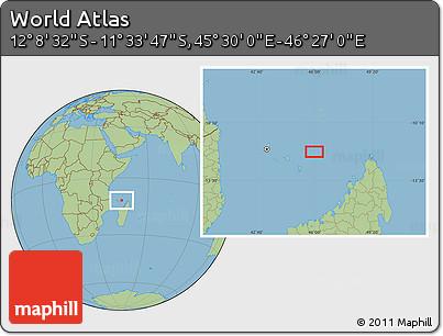 "Savanna Style Location Map of the Area around 11°51'9""S,45°58'30""E"