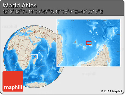 """Shaded Relief Location Map of the Area around 11°51'9""""S,45°58'30""""E"""