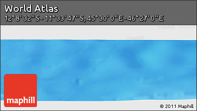 """Physical Panoramic Map of the Area around 11°51'9""""S,45°58'30""""E"""