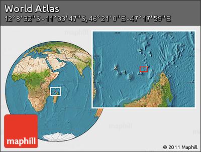 "Satellite Location Map of the Area around 11°51'9""S,46°49'30""E"