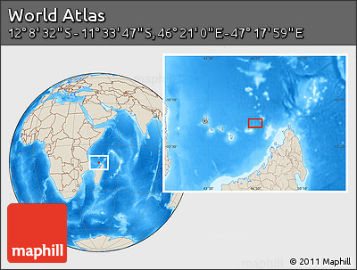 """Shaded Relief Location Map of the Area around 11°51'9""""S,46°49'30""""E"""