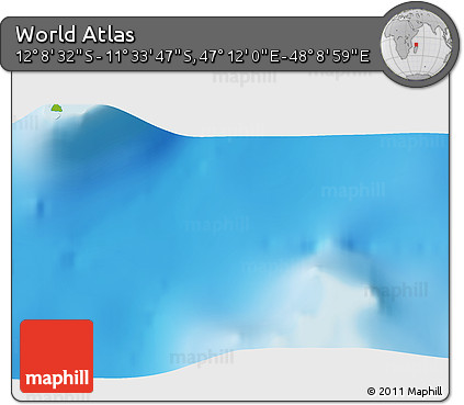 """Physical 3D Map of the Area around 11°51'9""""S,47°40'29""""E"""