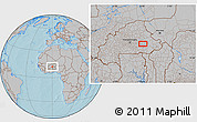 Gray Location Map of Fada N'Gourma, hill shading