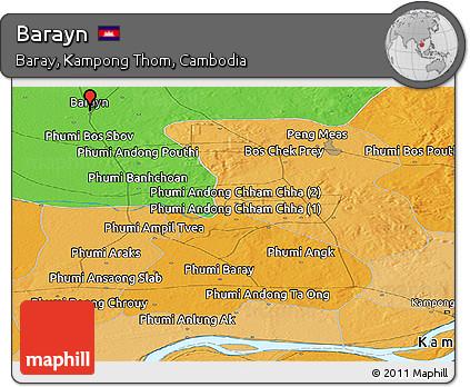 Political Panoramic Map of Barayn