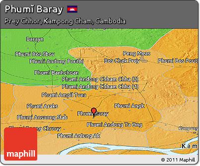 Political Panoramic Map of Phumĭ Baray