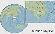 Savanna Style Location Map of Phumĭ Kâmpóng Dâmrei, hill shading