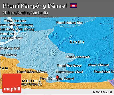 Political Panoramic Map of Phumĭ Kâmpóng Dâmrei