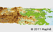 """Physical Panoramic Map of the area around 12°11'54""""N,108°52'30""""E"""