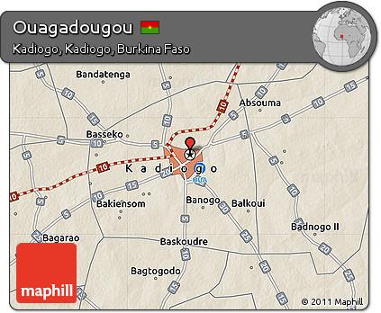 Free Shaded Relief Map of Ouagadougou
