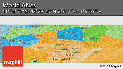 """Political Panoramic Map of the Area around 12°11'54""""N,1°37'30""""W"""