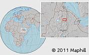 Gray Location Map of Rare, hill shading