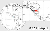 """Blank Location Map of the area around 12°11'54""""N,84°55'30""""W"""
