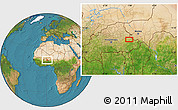 """Satellite Location Map of the area around 12°42'56""""N,0°55'29""""E"""