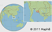 "Savanna Style Location Map of the area around 12°42'56""N,102°4'29""E"