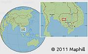 "Savanna Style Location Map of the area around 12°42'56""N,103°46'30""E"