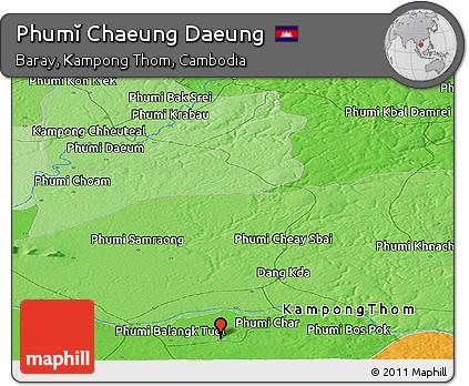 Political Panoramic Map of Phumĭ Chaeung Daeung