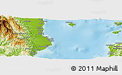 """Physical Panoramic Map of the area around 12°42'56""""N,121°37'30""""E"""