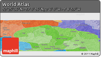 """Political Panoramic Map of the Area around 12°42'56""""N,1°37'30""""W"""
